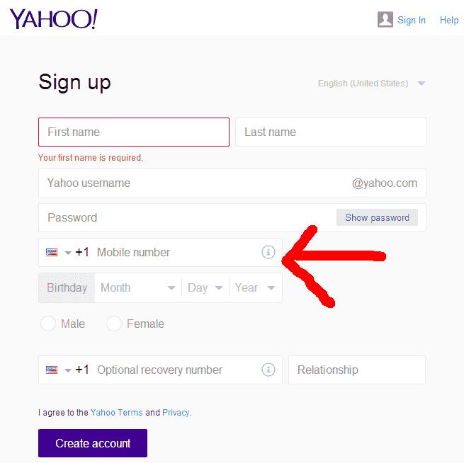 米Yahoo!のアカウント作成画面